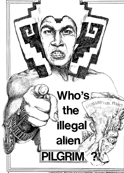 """Who's the Illegal Alien, Pilgrim?"" Poster by López, featuring her version of an Aztec God with crumpled immigration papers (1978)"