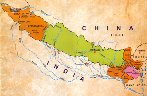 Nepal is the watershed for Northern India. Nepal's cultural and linguistic influences stretch the entire the pan-Himalayan region, beyond her current borders (green).