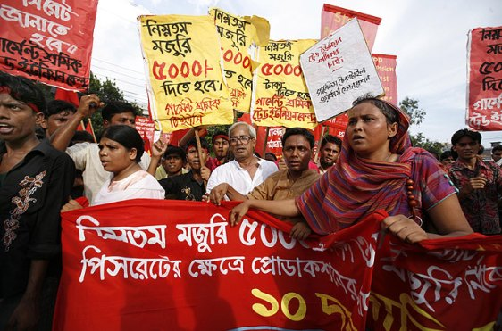 Garment workers have been continuously demanding the implementation of a new monthly minimum wage