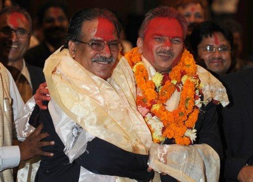 UCPN(M) Party Chairman Dahal with new Prime Minister Bhattarai