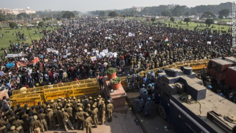 Students chant anti-police slogans during a protest against the Indian government's reaction to recent rape incidents in India, on Saturday, December 22, in New Delhi, India. The demonstration was prompted by wide public outrage over what police said was the gang-rape and beating of a 23-year-old woman on a moving bus in the capital last Sunday.
