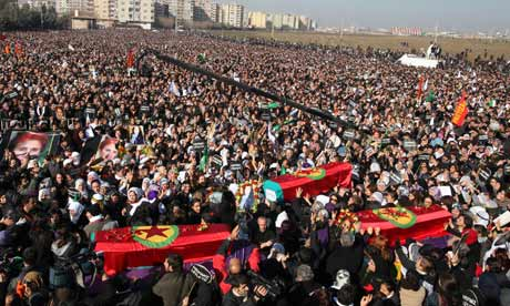 Thousands of Kurds mourned the activists killed in Paris -- Funeral in Turkey, 16 January 2013