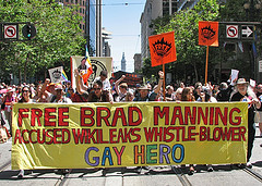 "Activists March for Bradley Manning at the 2011 San Francisco Pride Parade.  But gay ""establishment"" has raised not a finger in Bradley Manning's defense"