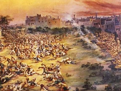 """It started a few months after the end of the first world war when an Englishwoman, a missionary, reported that she had been molested on a street in the Punjab city of Amritsar. The Raj's local commander, Brigadier General Reginald Dyer, issued an order requiring all Indians using that street to crawl its length on their hands and knees. He also authorized the indiscriminate, public whipping of natives who came within lathi length of British policemen. On April 13, 1919, a multitude of Punjabis  gathered in Amritsar's Jallian wala Bagh as part of the Sikh Festival """"Baisakhi fair"""" and to protest at these extraordinary measures. The throng, penned in a narrow space smaller than Trafalgar Square, had been peacefully listening to the testimony of victims when Dyer appeared at the head of a contingent of British troops. Giving no word of warning, he ordered 50 soldiers to fire into the gathering, and for 10 to 15 minutes 1,650 rounds of ammunition were unloaded into the screaming, terrified crowd, some of whom were trampled by those desperately trying to escape. Amritsar Massacre """"The Indians were 'packed together so that one bullet would drive through three or four bodies'; the people 'ran madly this way and the other. When fire was directed upon the centre, they ran to the sides. The fire was then directed to the sides. Many threw themselves down on the ground, and the fire was then directed on the ground. This was continued for eight or ten minutes, and it stopped only when the ammunition had reached the point of exhaustion"""".....Winston Churchill Dyer then marched away, leaving 379 dead and over 1,500 wounded. Back in his headquarters, he reported to his superiors that he had been 'confronted by a revolutionary army,' and had been obliged 'to teach a moral lesson to the Punjab.' In the storm of outrage which followed, the brigadier was promoted to major general, retired, and placed on the inactive list. ''I think it quite possible that I could have dispersed the crowd """