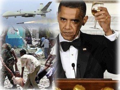 Obama toasting power while roasting civilians