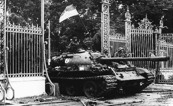 April 30, 1975: a North Vietnamese tank rolls through the gate of the Presidential Palace in Saigon, signifying the fall of South Vietnam